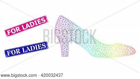 Rainbow Colored Mesh Lady Shoe, And For Ladies Corroded Framed Rectangle Stamp Seals. Pink And Blue