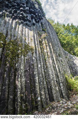Basalt columns known as Stone Waterfall in southern Slovakia Somoska natural reserve. Siatorska bukovina, Slovakia