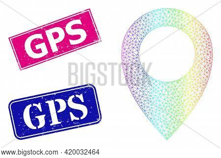Spectral Vibrant Mesh Map Marker, And Gps Corroded Framed Rectangle Watermarks. Pink And Blue Rectan