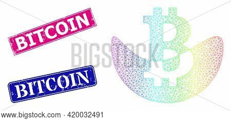 Spectrum Colorful Network Melting Bitcoin, And Bitcoin Rubber Framed Rectangle Seals. Pink And Blue