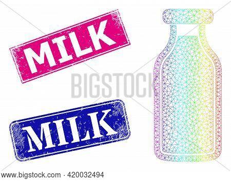 Spectrum Vibrant Mesh Milk Bottle, And Milk Grunge Framed Rectangle Stamp Seals. Pink And Blue Recta