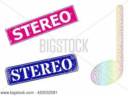 Spectrum Gradient Mesh Musical Note, And Stereo Unclean Framed Rectangle Watermarks. Pink And Blue R