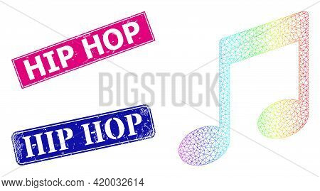 Spectrum Colorful Mesh Musical Notes, And Hip Hop Dirty Framed Rectangle Stamps. Pink And Blue Recta