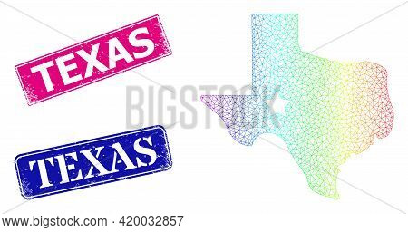 Spectral Colored Mesh Texas Map Logo, And Texas Textured Framed Rectangle Stamps. Pink And Blue Rect