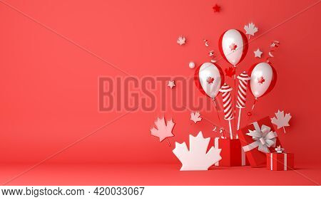 Happy Canada Day Decoration Background With Balloon Firework Maple Leaves Gift Box Copy Space Text,