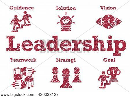 Leadership Typography Lettering Text Around Business Icons White Isolated Background Blur Style