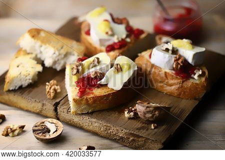 Healthy Toast With Jam And Brie Cheese. Keto Snack. Diet Food.