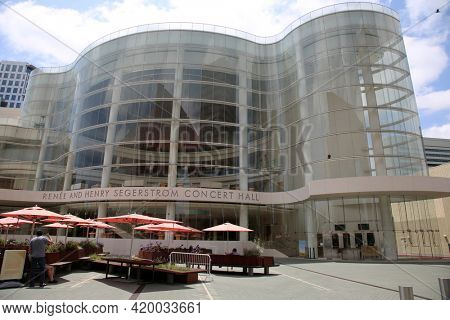 Costa Mesa, California  United States - January 15, 2020: Segerstrom Hall designed by Charles Lawrence at The Segerstrom Center for the Arts in Costa Mesa California. Editorial Use Only.