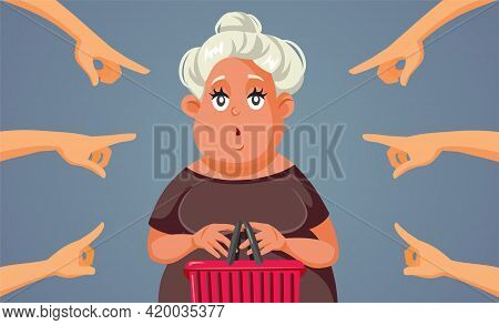 Hands Pointing At The Consumer Holding Shopping Basket