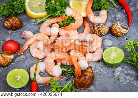 Fresh Shrimps Or Prawns Seafood And Shellfish With Herbs And Spice, Shrimp Peeled On Dark Background