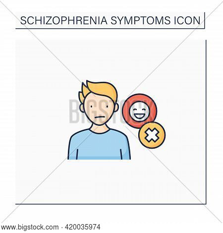 Negative Symptoms Color Icon.emotional Expression Lack. Inexpressive Face, Lack Of Eye Contact, Rest