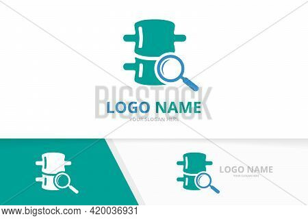Vector Spine And Magnifying Glass Logo Combination. Vertebral Column And Magnifier Logotype Design T