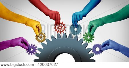Business Teamwork Unity And Connecting Team Concept Idea As An Industry Metaphor For Joining A Partn