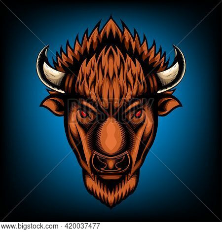 Vector Illustration Front View Of American Bison Buffalo Good Use For Symbol Mascot Icon Avatar Tatt