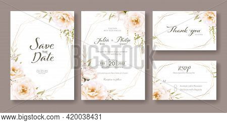 Set Of Floral Wedding Invitation Card, Save The Date, Thank You, Rsvp Template. Vector. Romantic Ros