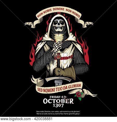 Crusader Skull, Holy Grail And Rose Of Sharon Vector Illustration  Non Nobis Domine, Non Nobis, Sed
