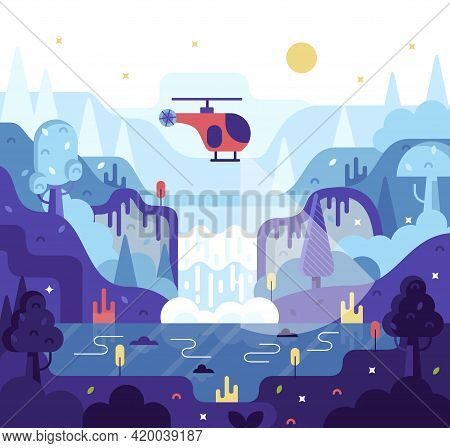 Red Helicopter Flies At Night Under Waterfall And Search For A Criminal Or A Lost Tourist - Vector C