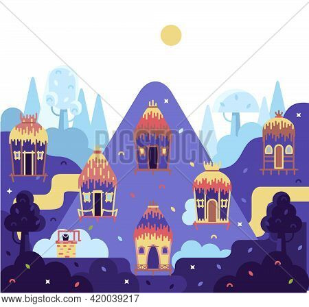 Bright Country Mud Houses - Flat Cartoon Panorama Illustration In Orange Color