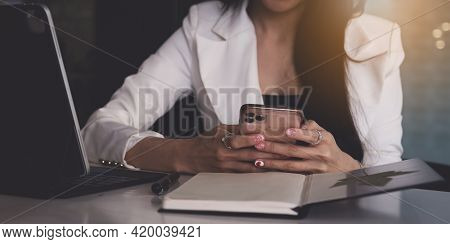 Business Woman Using Bank Savings Account Application In Smartphone, Account Or Saving Money Or Insu
