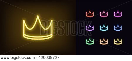 Neon Crown Icon. Glowing Neon Corona Sign, Outline Crown Pictogram In Vivid Color. King Or Queen Gol
