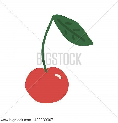 Cherry And Leave Icon. Hand Drawn Vector, Minimalism. Berry, Summer Sweet Juicy Red Fruit