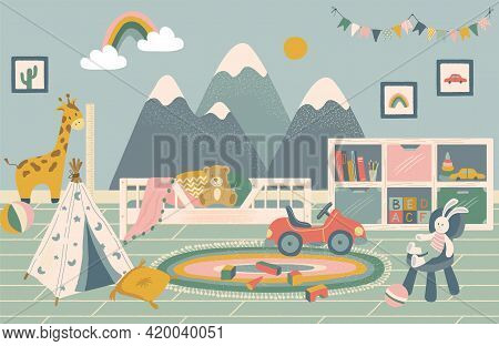 Nursery Room Interior Hand Drawn Vector Illustration. Home Modern Interior Design. Newborn Child Roo