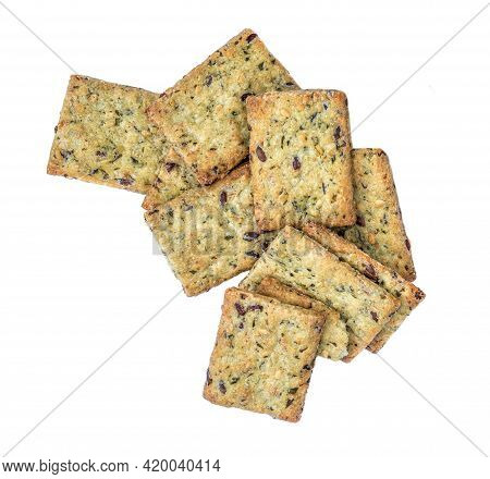 Dry Crackers Isolated On White Background. Cracker Cookies With Herbs Top View