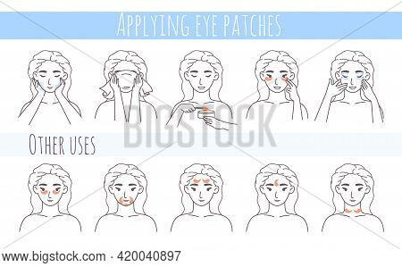 Hydrogel Eye Patches, Collagen Eye Mask Application Steps, Vector Illustration. Face Skin Care Routi