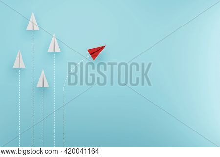Group Of Paper Plane In One Direction And With One Individual Pointing In The Different Way. Busines