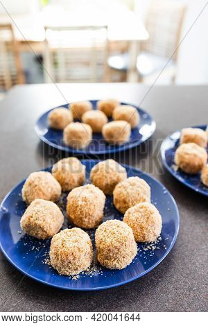 Vegan Arancini Risotto Balls With Tomato Sauce Filling, Healthy Plant-based Food