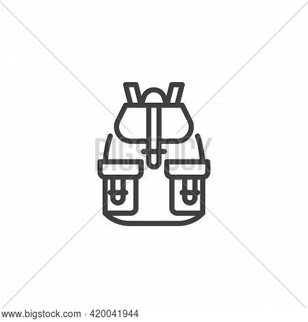 Rucksack, Backpack Line Icon. Linear Style Sign For Mobile Concept And Web Design. Haversack With Po