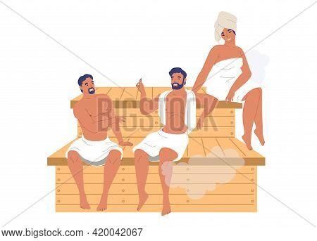 Happy People Friends Relaxing Enjoying Steam Bath, Sauna, Vector Illustration. Spa Resort, Steam Roo