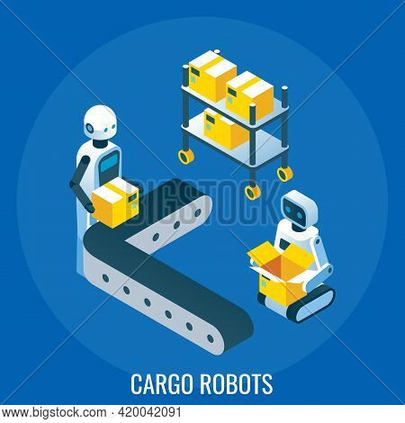 Automated Line, Cargo Robots Packing Cardboard Boxes, Vector Isometric Illustration. Industrial Auto