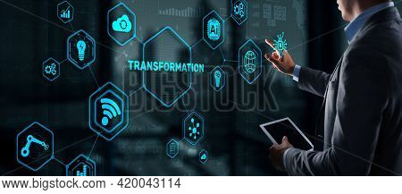 Business Digital Transformation. Future And Innovation Internet And Network Concept. Technology Back