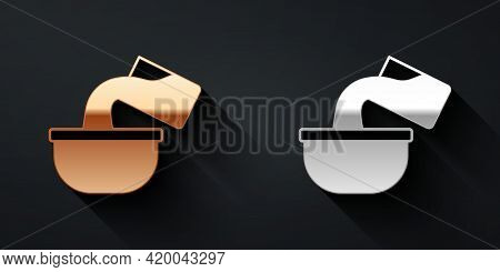 Gold And Silver Saucepan Icon Isolated On Black Background. Cooking Pot. Boil Or Stew Food Symbol. L