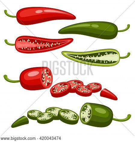 Closeup Red, Green Chilly Pepper Vector Slice Set. Hot Red Chili Peppers, Mexican Chilli Isolated On