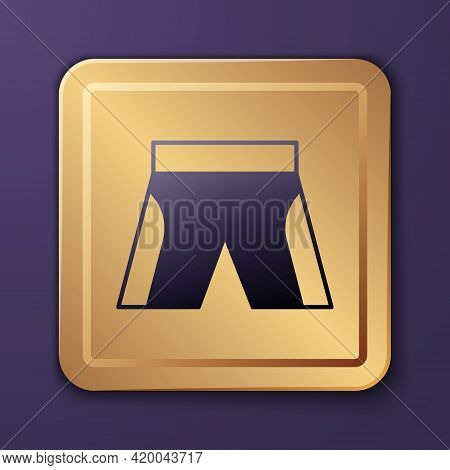 Purple Short Or Pants Icon Isolated On Purple Background. Gold Square Button. Vector
