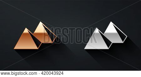 Gold And Silver Egypt Pyramids Icon Isolated On Black Background. Symbol Of Ancient Egypt. Long Shad
