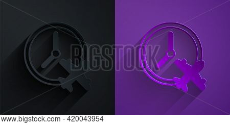 Paper Cut Clock With Airplane Icon Isolated On Black On Purple Background. Designation Of Time Befor