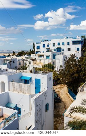 Traditional Houses, Roof Top Terraces. White Madina In Sidi Bou Said Near Tunis.  Tunisia,  Nord Afr