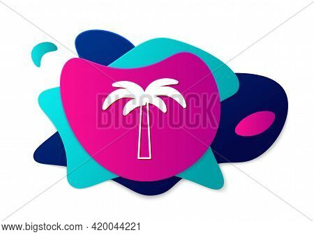 Color Tropical Palm Tree Icon Isolated On White Background. Coconut Palm Tree. Abstract Banner With