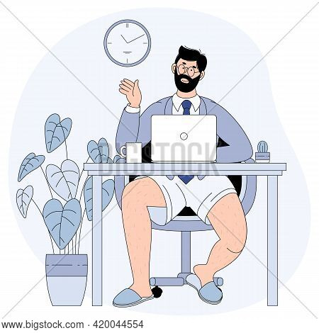 Young Man Wearing A Business Suit Or On Top And Sweatpants Or Boxers On Bottom. Businessman Video Co