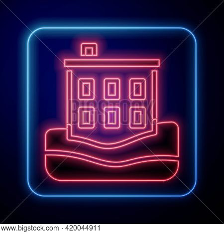 Glowing Neon House Flood Icon Isolated On Black Background. Home Flooding Under Water. Insurance Con