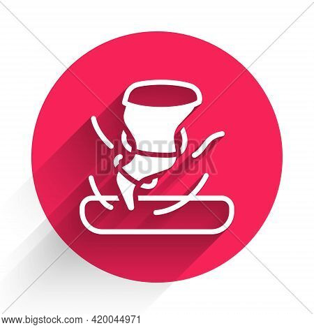 White Tornado Icon Isolated With Long Shadow. Cyclone, Whirlwind, Storm Funnel, Hurricane Wind Or Tw