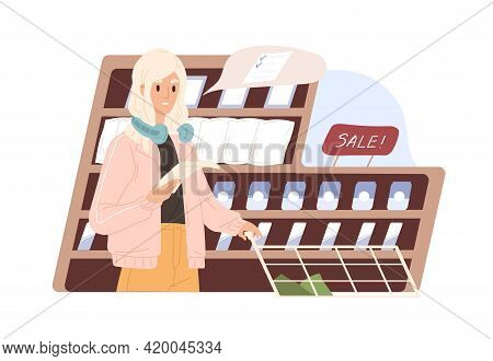 Conscious Woman Keeping To Shopping List While Buying Food Products In Supermarket. Modern Customer