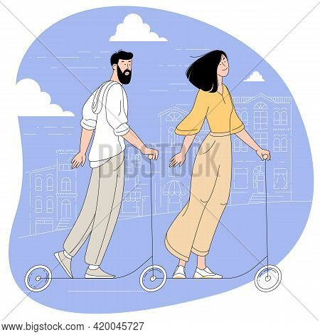 Young Bearded Man And Woman Riding The Electric Scooter On The Cityscape Background Feeling Delighte