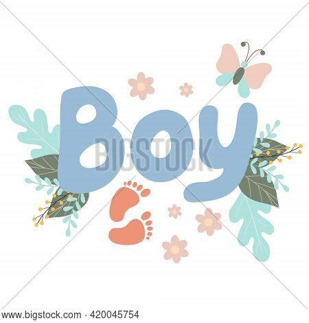 Lettering Boy Decorated With Twigs And Leaves Of Flowers, Blue Letters, Cute Inscription For A Newbo