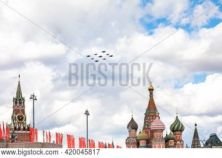 May 7, 2021, Moscow, Russia. A Group Of Su-30sm Russian Knights And Mig-29 Swifts Fly Red Square