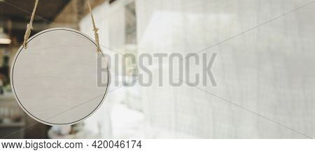 Panoramic Wide Banner. Blank Vintage Wooden Sign Board Hanging On Glass Door In Modern Cafe Restaura