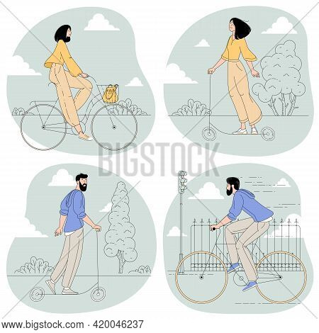 Young Bearded Man And Woman Riding Bikes And Electric Scooters On The Cityscape Background Feeling D